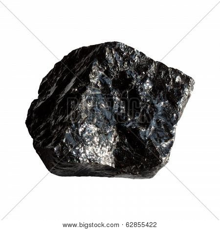 Mineral Obsidian  On White Background