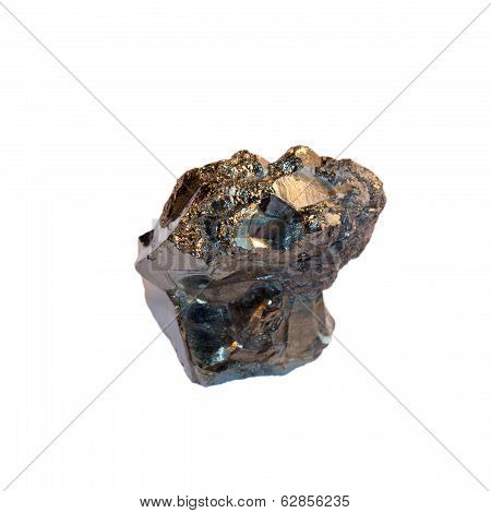 Pyrite Crystal On White Background