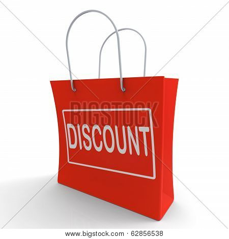 Discount Shopping Bag Means Cut Price Or Reduce