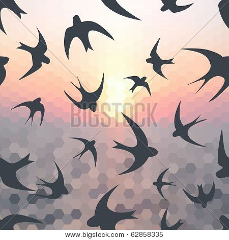 Hexagon Background And Swallow Silhouette