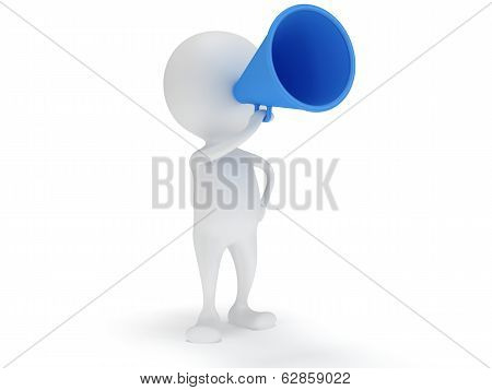 3d white man stand with blue megaphone