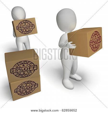 Twenty Five Percent Off Boxes Show 25  Lower Price