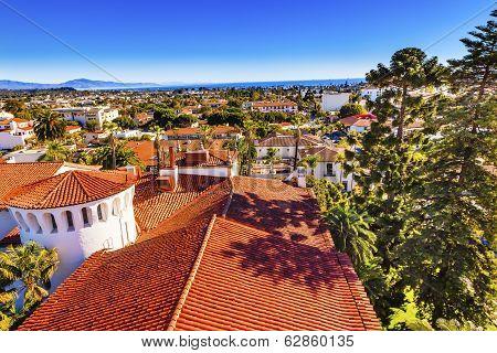 Orange Roofs Buildings Pacific Ocean Santa Barbara California
