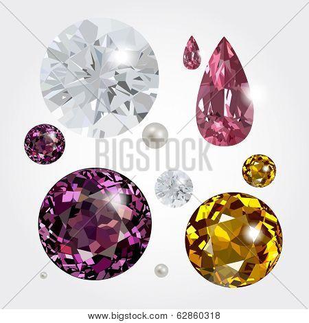 Set of gemstones