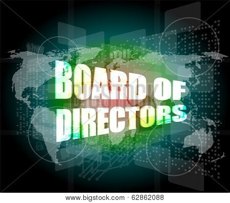 Board Of Directors Words On Digital Screen Background With World Map