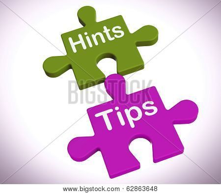 Hints Tips Puzzle Shows Suggestions And Assistance