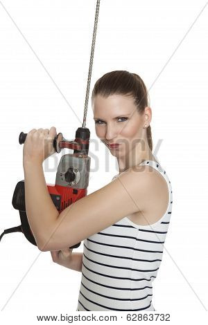 Young Craftswoman With A Power Drill In Front Of White Background