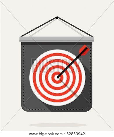 Dart with dartboard. Flat design