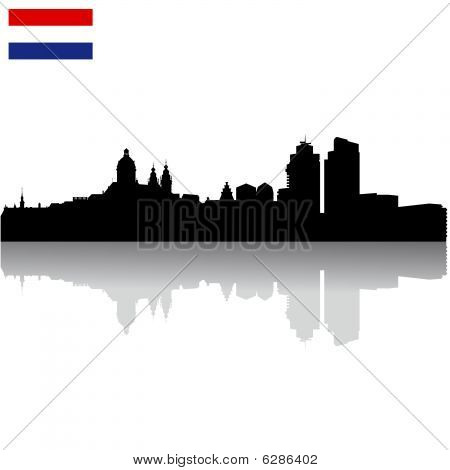 Black vector Amsterdam silhouette skyline with flag