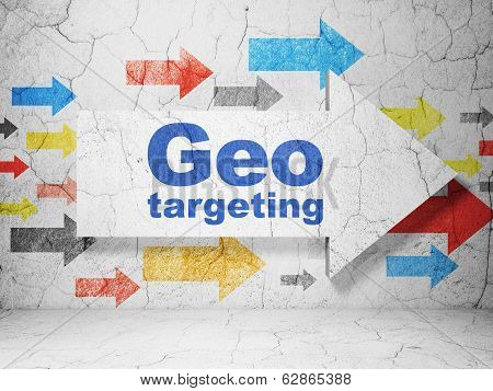 Finance concept: arrow with Geo Targeting on grunge wall background