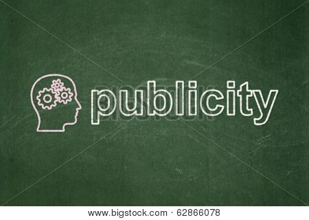 Marketing concept: Head With Gears and Publicity on chalkboard background
