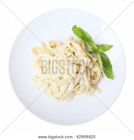 Fettuccine With Cheese. Top View.