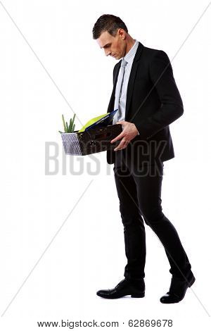 You are fired! Businessman hold box with personal belongings isolated on white background