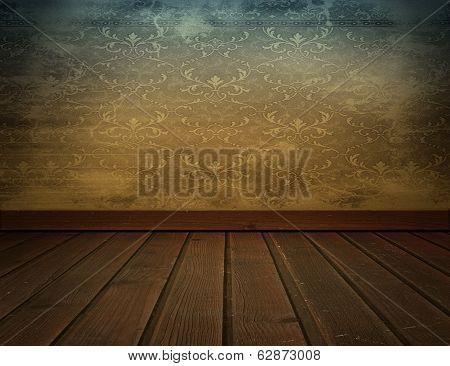 Vintage Interior Background With Wooden Floor