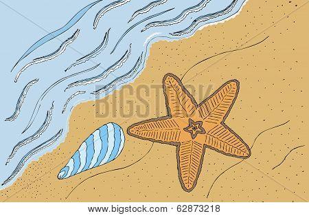 Sea shore hand drawn