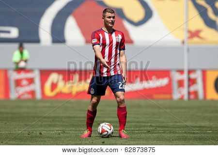 CARSON, CA - APRIL 6: Chivas USA D Eriq Zavaleta (22) during the MLS game between the Los Angeles Galaxy & Chivas USA on April 6th 2014 at the StubHub Center in Carson, Ca.