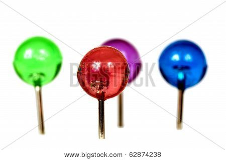 Group Of Brightly Colored Pushpins