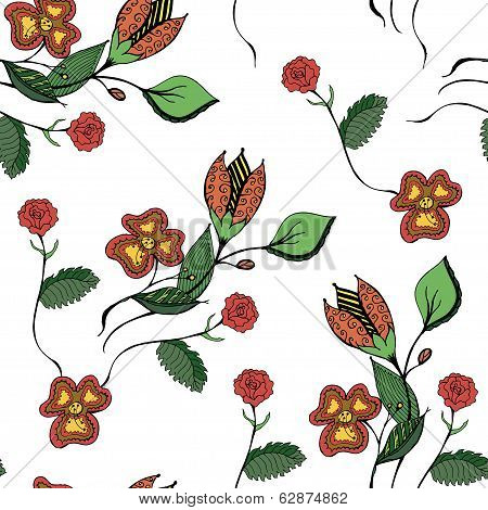 Floral hand drawn seamless pattern