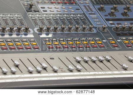 Digital Sound Mixing Console Closeup