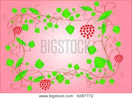 Red frame with leaves and berries and a place for text