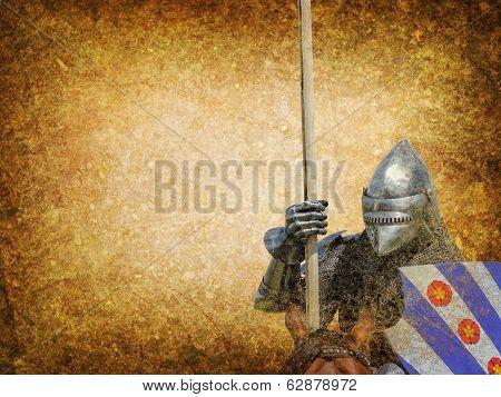 Armored Knight On Warhorse - Retro Postcard
