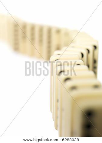 Domino bricks on a row