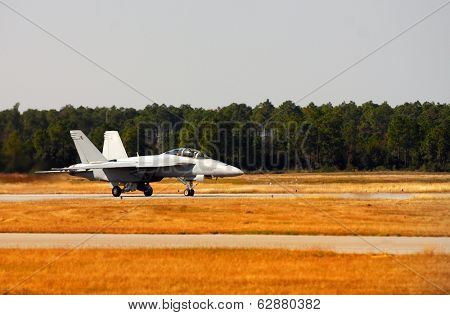 Image of a F-18 hornet ready for take off