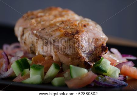 Grilled chicken with panzanella salat