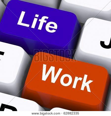 Life Work Keys Show Balancing Job And Free Time