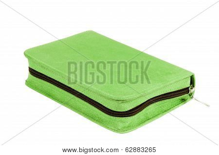 Closed Green Zipped Case Isolated