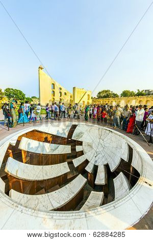 People Visit Astronomical Instrument At Jantar Mantar Observatory