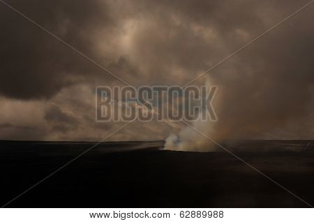Dramatic Cloudy Image of The Kilauea Volcano On Hawaii.
