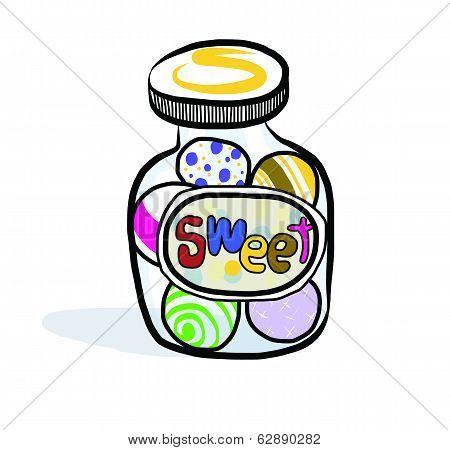 varied goodies each grouped separately . A vector icon of a candy jar.
