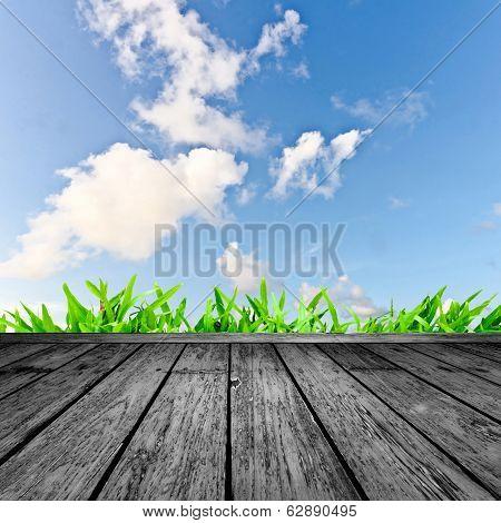 Wooden Floor And Blue Skyorizon, Light, Cloudy, Nature, Material