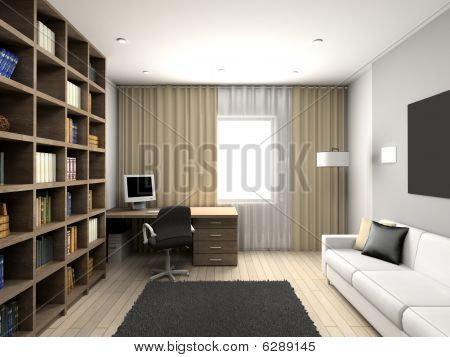 Modern Comfortable Interior. Cabinet.