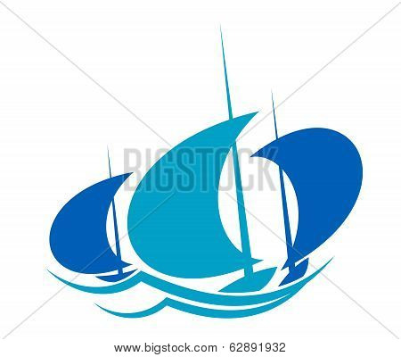 Yachts sailing on blue ocean waves