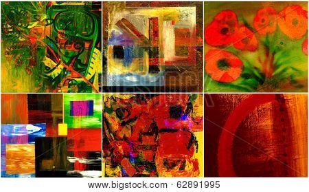 Beautiful collection collage of six abstract paintings