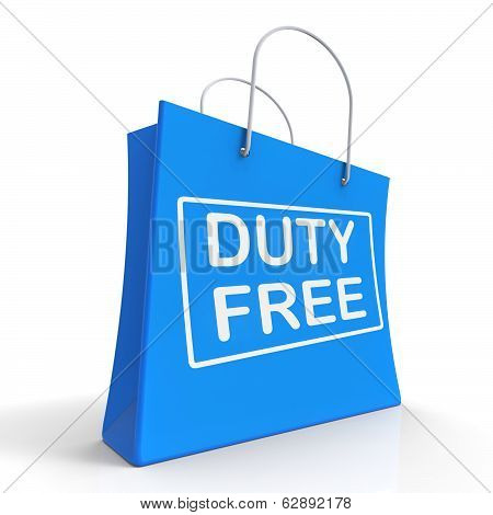 Duty Free On Shopping Bags Shows Tax Free Purchases