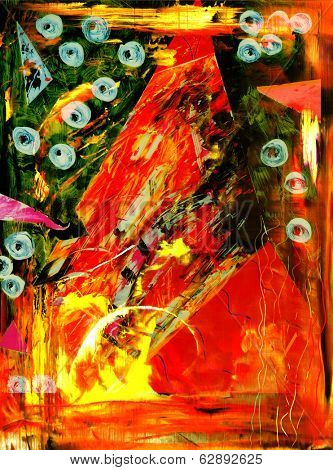 Interesting Image Of an Original Painting Abstract On Glass in verso
