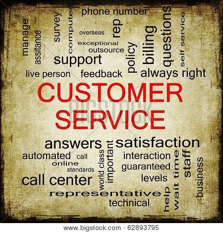 Customer Service Grunge Word Cloud