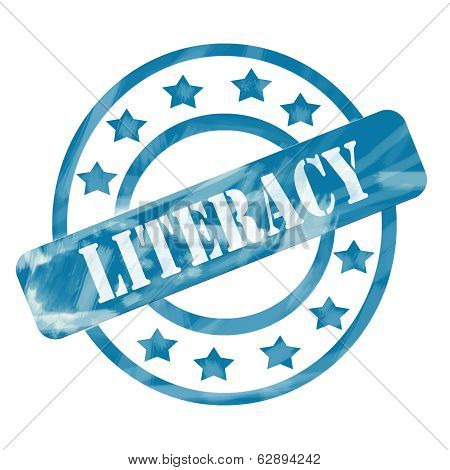Blue Weathered Literacy Stamp Circles And Stars