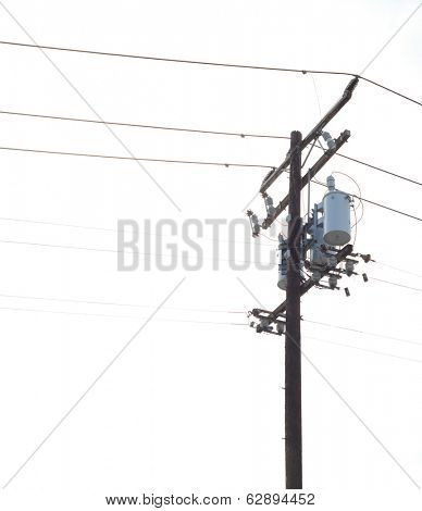 Nice Image of a Isolated Power pole with Powerlines and transformers
