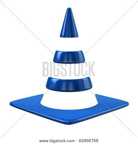 Blue traffic cone icon