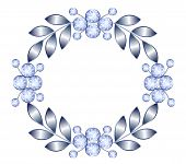 stock photo of brooch  - Luxury silver brooch with precious stones vector - JPG