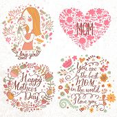 image of i love you mom  - Cute retro vector cards with mother and child - JPG
