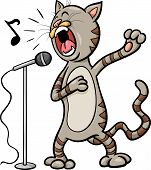 picture of cat-tail  - Cartoon Illustration of Funny Singing Cat Character - JPG