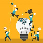 pic of collaboration  - flat design vector illustration concept of team work - JPG