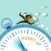 foto of running-late  - flat design vector illustration concept of hurry up - JPG