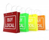 stock photo of local shop  - Buy Local Shopping Bags Showing Buying Nearby Trade - JPG
