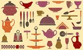 stock photo of brazier  - Seamless background with kitchen ware in retrostyle - JPG